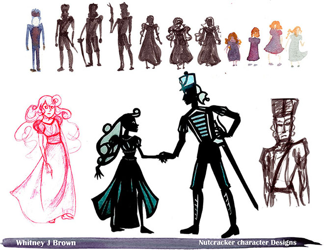 Character Design Silhouette Tutorial : Clara and nutcracker designs for silhouette animation